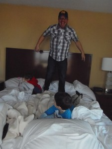 Daddy jumps on beds too!