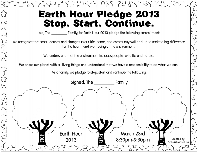 Earth Hour Pledge