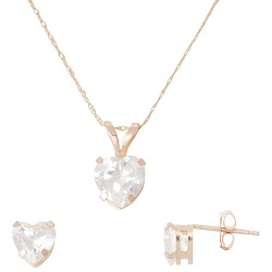 Classic 10K Gold Heart Pendant & Earrings Set