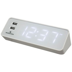 Marathon LED Digital Alarm Clock with USB Charging Station
